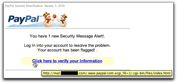 Seasonal PayPal phishing email message