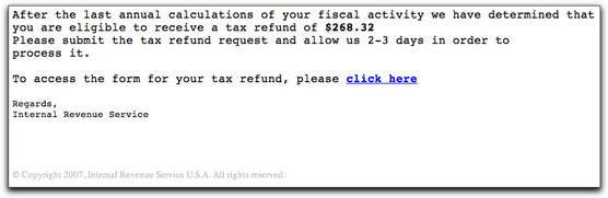 IRS phishing email message