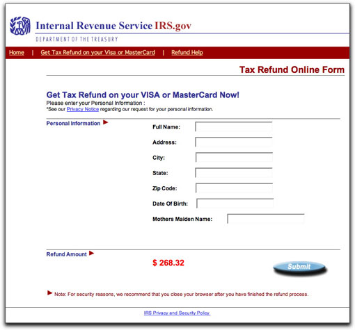 IRS phishing site, page two