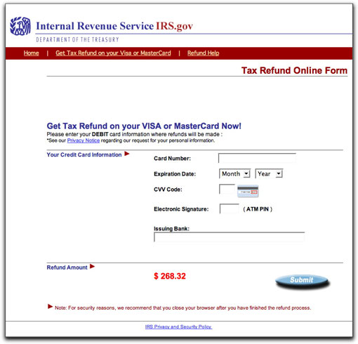 IRS phishing site, page three