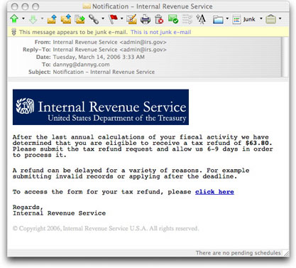 Phony I.R.S. Refund Message