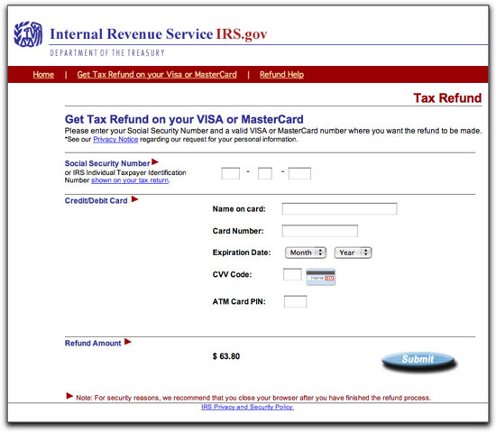 Phony I.R.S. Refund Web Page