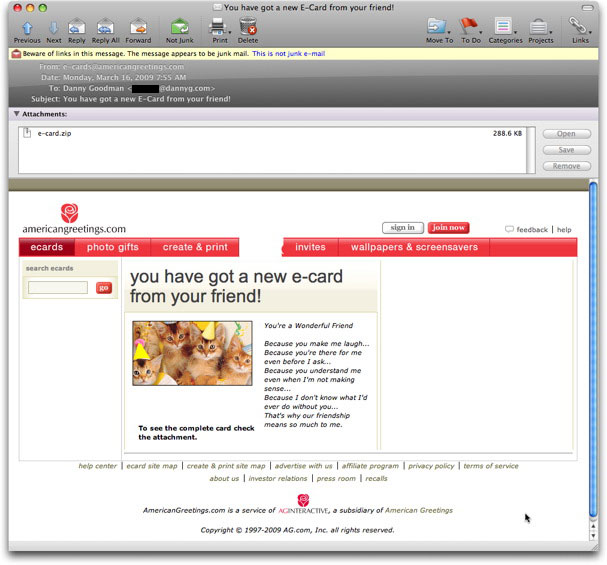 Phony american greetings email