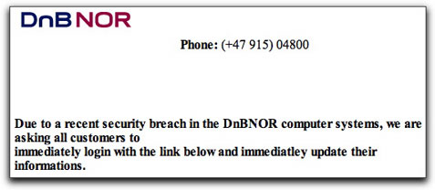 DnBNOR phishing spam