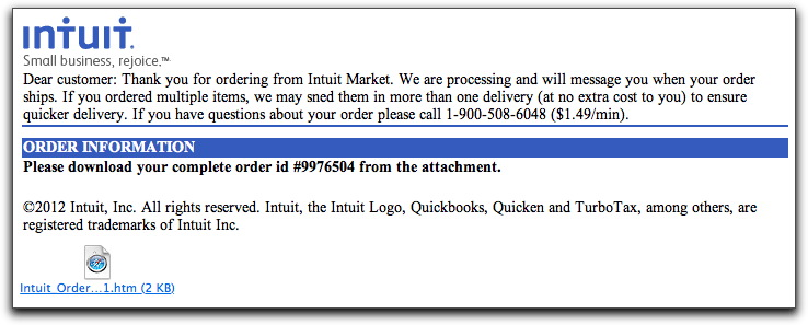 Fake Intuit email message
