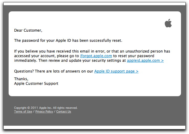 Fake Apple ID reset message