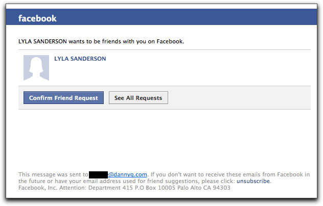Fake Facebook invitation