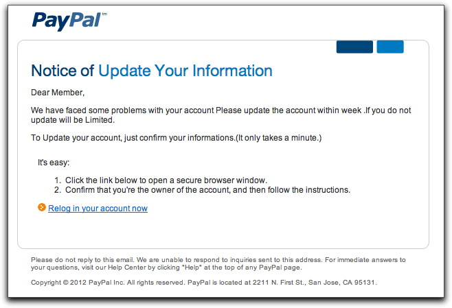 Phony PayPal email message