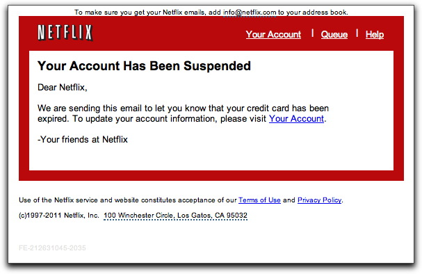 Netflix phishing email message