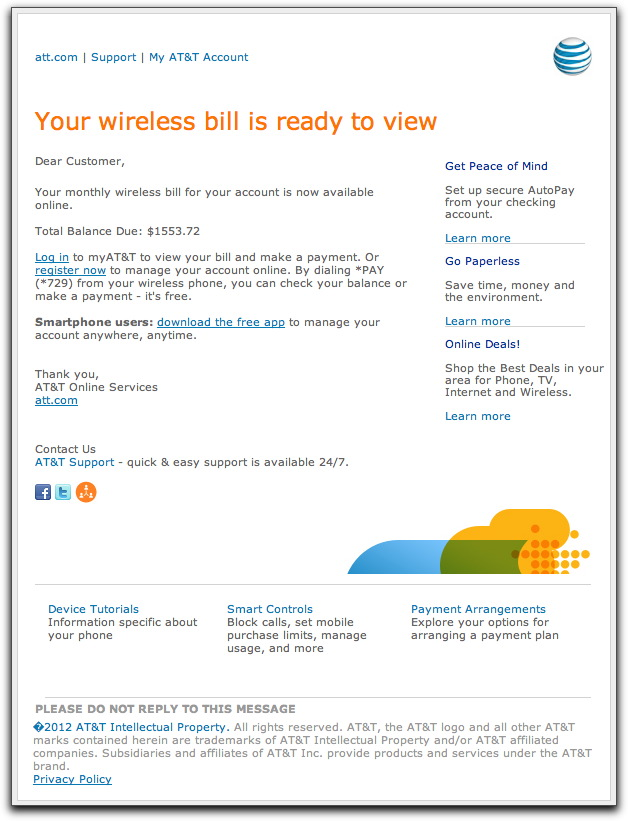 Convincing, but fake AT&T wireless bill notice