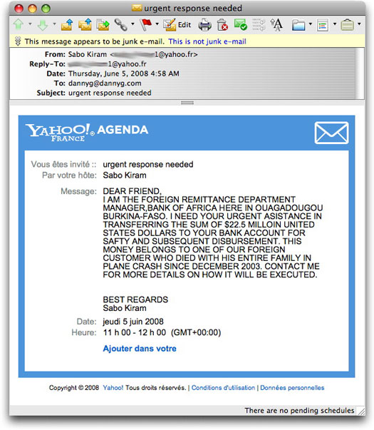 Yahoo Calendar 419 spam
