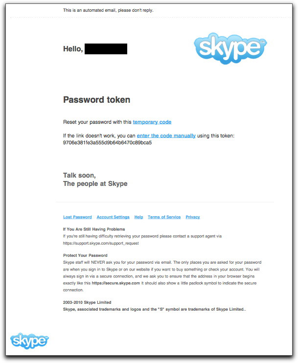 Phony Skype password reset message