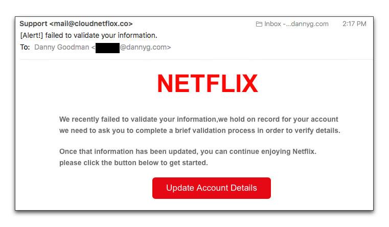 Netflix phishing email message