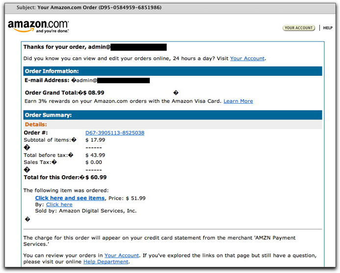 phony amazon.com order email