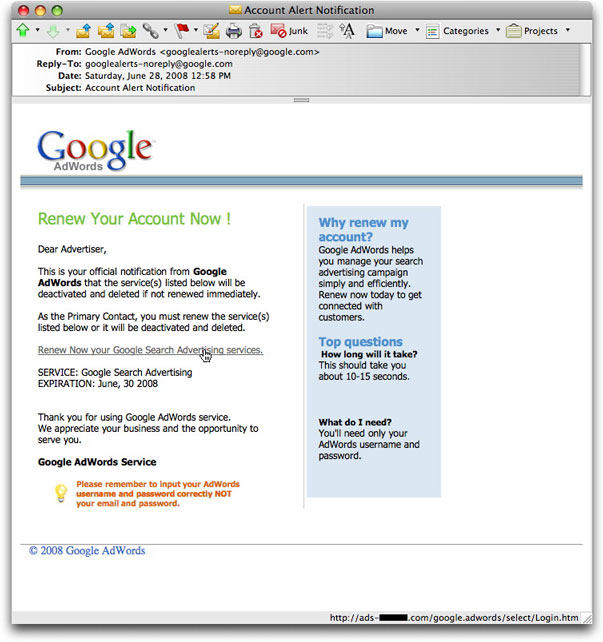 Google AdWords account phishing message