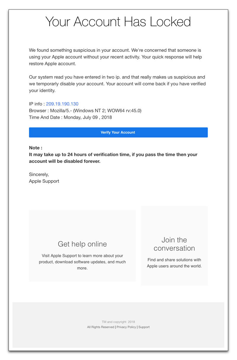 Phony AppleID scam email message