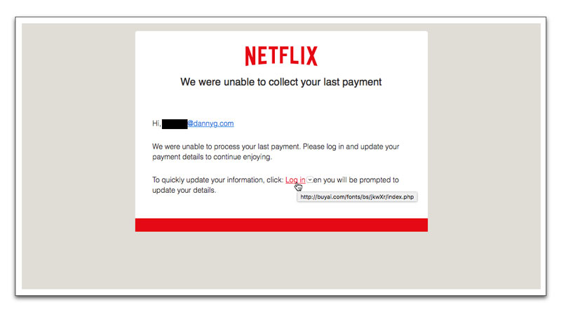 Fake Netflix payment notice