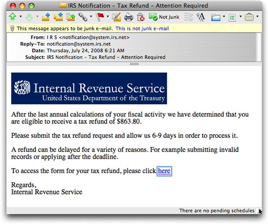 IRS Refund Phishing email message