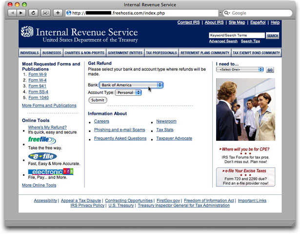 Phony IRS refund web page