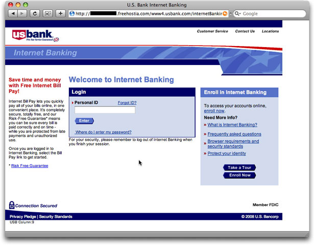 Phony bank login page