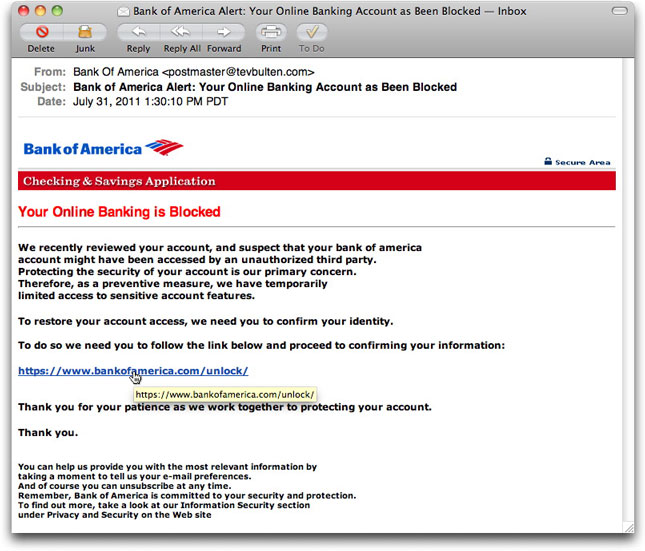 Bank of America phishing page with bankofamerica.com tooltip
