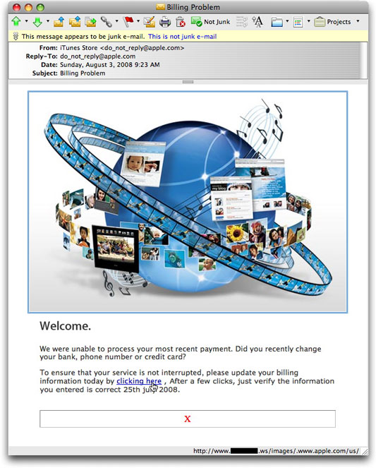 iTunes phishing message