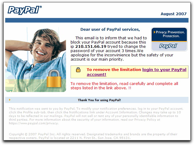 PayPal phishing image