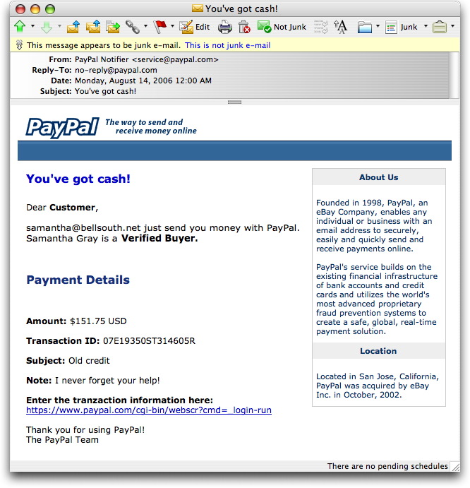Phony PayPal You've Got Cash Message