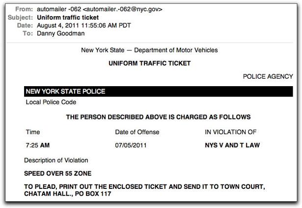 Phony speeding ticket message