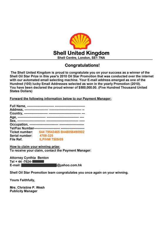 Phony Shell Oil winning claim form