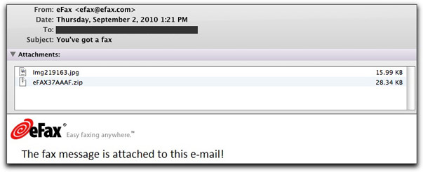 Phony efax email message
