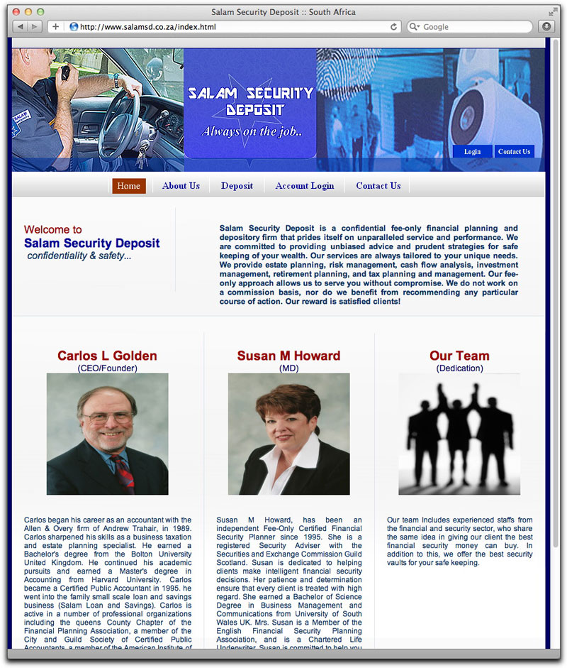 Supposed Salam Security Deposit web site home page
