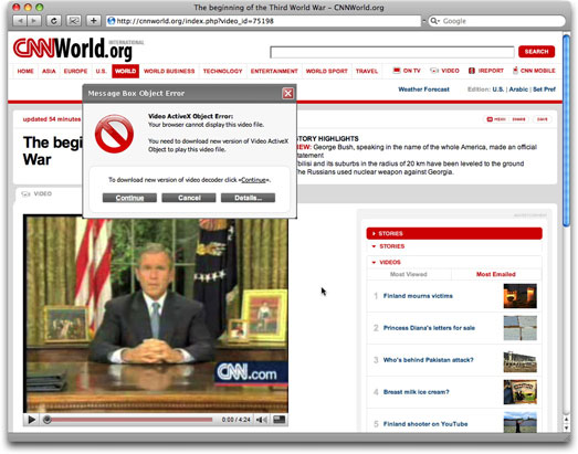 Phony CNN International web page