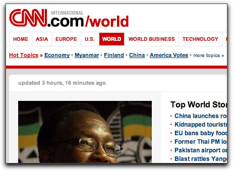Real CNN International web page