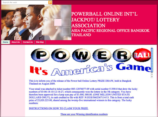 Phony lottery web site