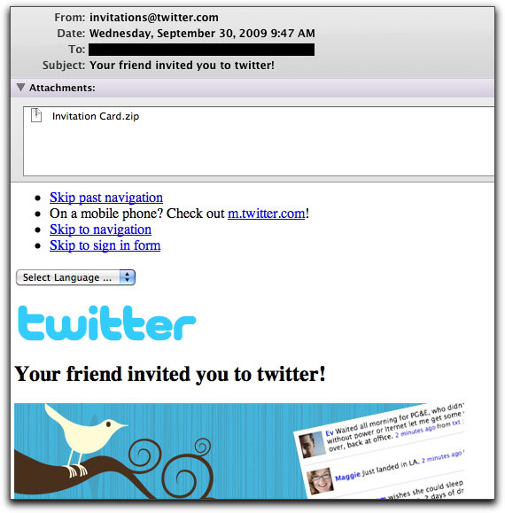 Fake Twitter invitation email message