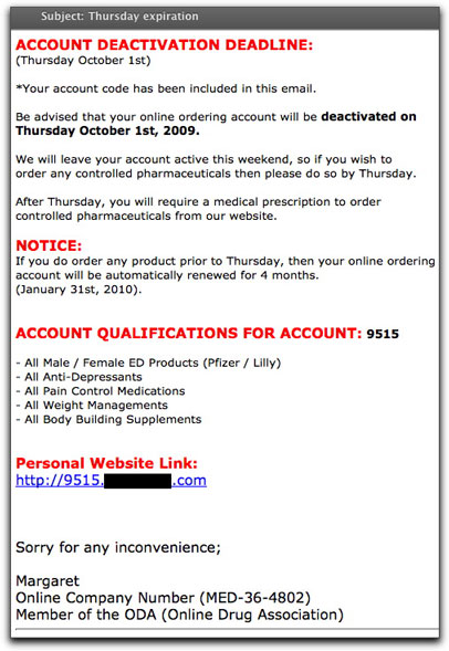 Medz spammer account deadline email message