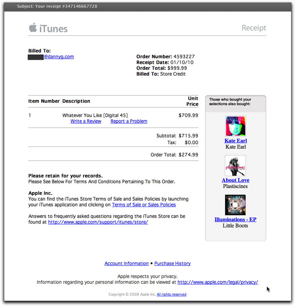 Phony iTunes receipt email message