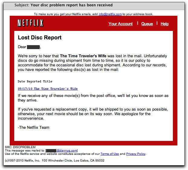 Phony Netflix email message