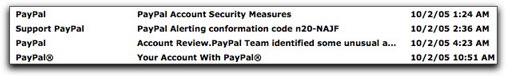 Inbox messages alleging to be from PayPal