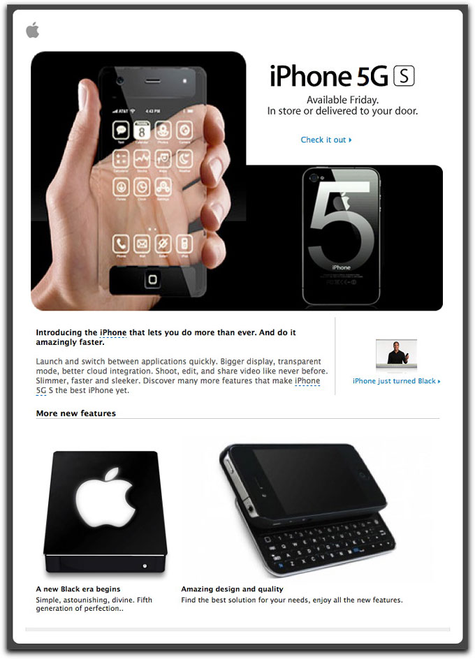 Phony iPhone 5 email message