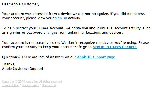 Phony iTunes alert email message