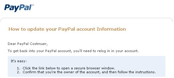 PayPal phishing message image