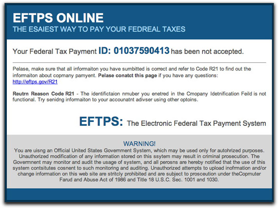 A new phony EFTPS spam message
