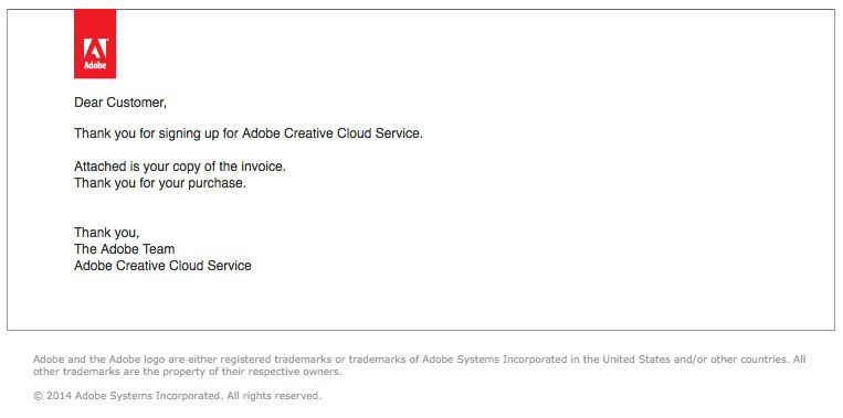 Fake Adobe Invoice email message