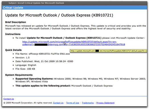 Fake Outlook Update emailing