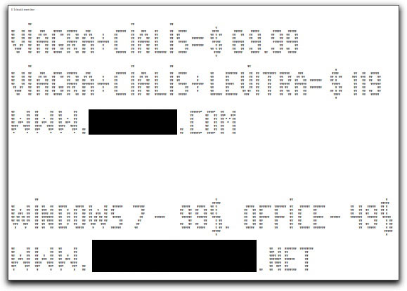 ASCII art spam message