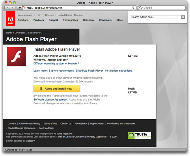 Fake Adobe Flash download page