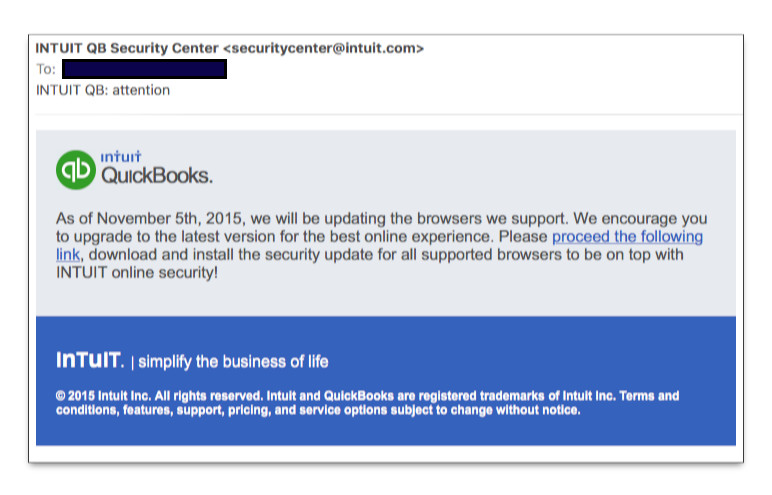 Phony QuickBooks Security email
