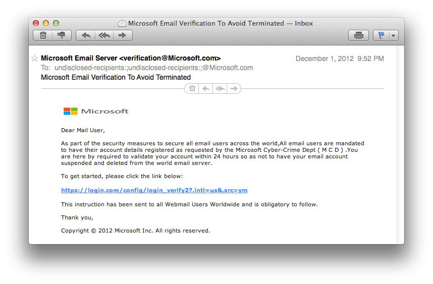 Fake Microsoft Email Warning